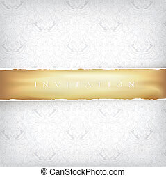 Vintage Ornamented Background with Golden Ribbon. Vector, EPS10