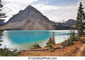 Early autumn in the Rocky Mountains of Canada. Shining azure...