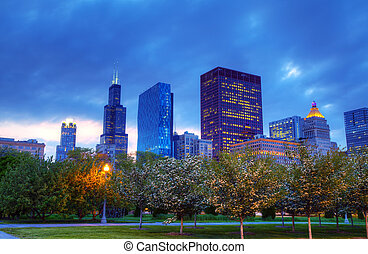 Downtown Chicago, IL in the evening - Lights of the downtown...