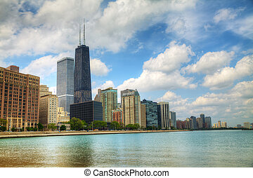 Downtown Chicago, IL in the sunny day as seen from Lake...