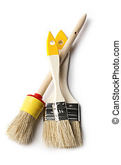 Paint brushes on the white background