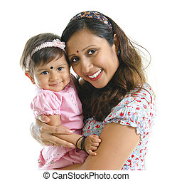 Modern Indian mother and daughter