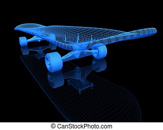 skateboard on a black background - skateboard on a black...