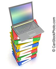 Laptop on Stack of Folders