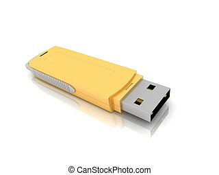 USB storage drive isolated on whit