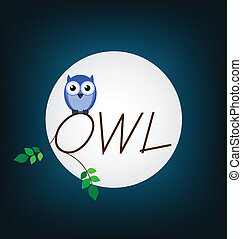 Owl twig text set against a full moon