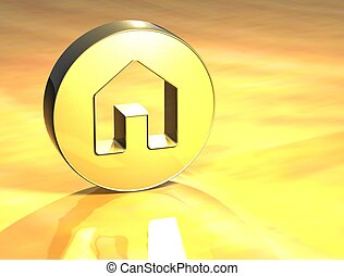 3D House Gold Sign over yellow background
