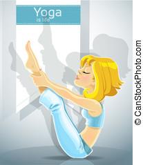 girl in yoga pose meru danda asana