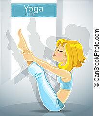 girl in yoga pose meru danda asana - cute blond girl in a...