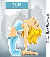 blond girl in yoga pose camel