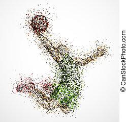 abstratos, basquetebol, jogador