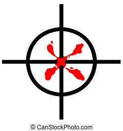Blood stain in gun sight target