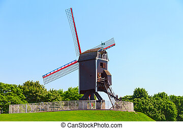 Windmill and green lawn at Brugge - black Windmill and green...