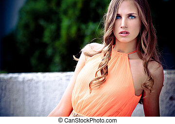 blue eyes blond - young blue eyes blond woman outdoor summer...