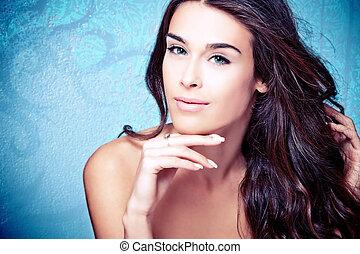 blue eyes beauty - young blue eyes brunette beauty woman...