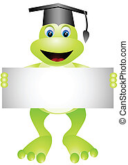 cartoon frog with blank sign