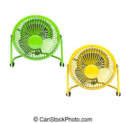two fans for a hot summer day