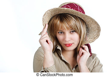 Young woman with straw hat - Portrait of an attractive young...
