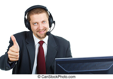 Man in suit with headset and thumb up over white background...