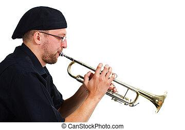 jovem, homem, tocando, trompete