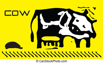 Vector cow - The image of the spotted cow on a yellow...