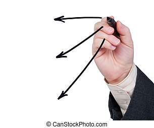 Hand with felt-tip pen drawing arrows. - Hand with felt-tip...