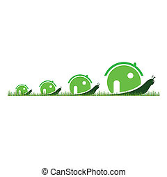 four snail in green color in the grass