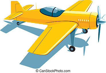 Sport airplane - Vector isolated yellow sport airplane on...