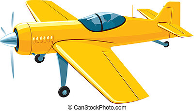 Flying sport airplane - Vector isolated yellow sport...