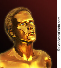 Visionary - Golden Man - A visionary man with solid gold...