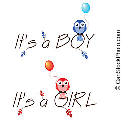 Boy and girl celebration twig text isolated on white...