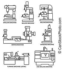 Machine tools - An illustration of set of machine tools