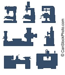 Machine tool icon set - An illustration of set of machine...