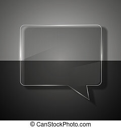 glass bubble speech on colorful background.