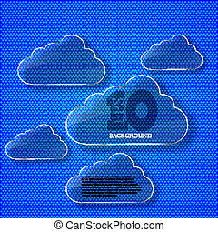 Vector creative glass computer clouds background. Eps 10