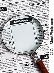 Antiques Sale ad - Fake Classified Ad, newspaper, Antiques...
