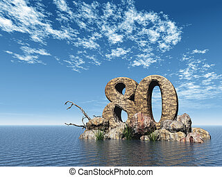 number eighty - the number eighty - 80 - at the ocean - 3d...