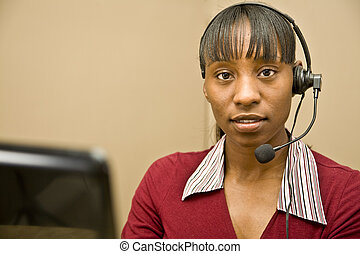 African American Customer Support R - An attractive African...