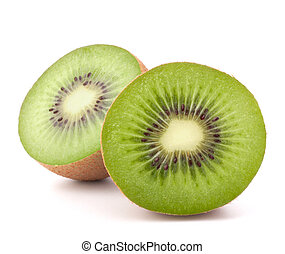 Two kiwi fruit sliced halves isolated on white background...