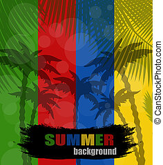 Summer background with plams silhouette, vector illustration