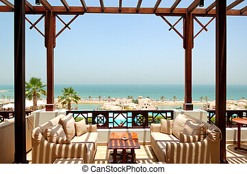 Sea view terrace at luxury hotel, Fujairah, UAE