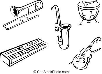 Musical instruments set - Set of musical instruments in...