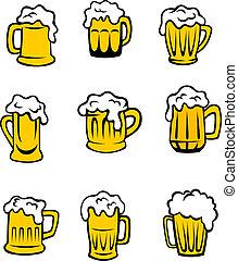 Conjunto, cerveza, anteojos