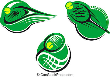 Tennis sports icons and symbols with packet and ball