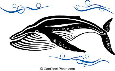 Black whale in ocean water - Big black whale in ocean water...