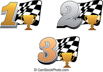 Chequered racing flag with trophy and golden, silver and...