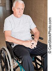aposentado, homem, Cadeira rodas