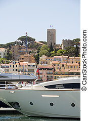 historic Old City fortress from the harbor with yachts...