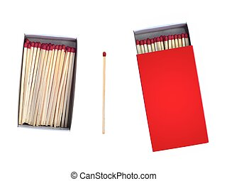 Matches - Wooden matches isolated against a white background