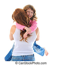 cheerful girl hugs her young mother - beautiful cheerful...